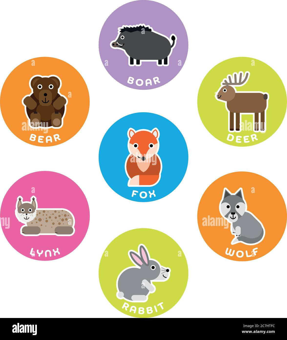 Forest wild animals collection. Set of 7 cartoon characters in the circle with name labels. Vector illustration. Stock Vector