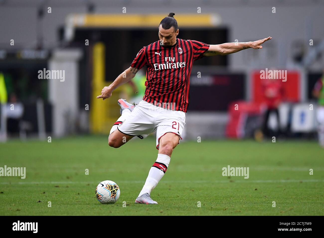Milan Italy 15 July 2020 Zlatan Ibrahimovic Of Ac Milan In Action During The Serie A