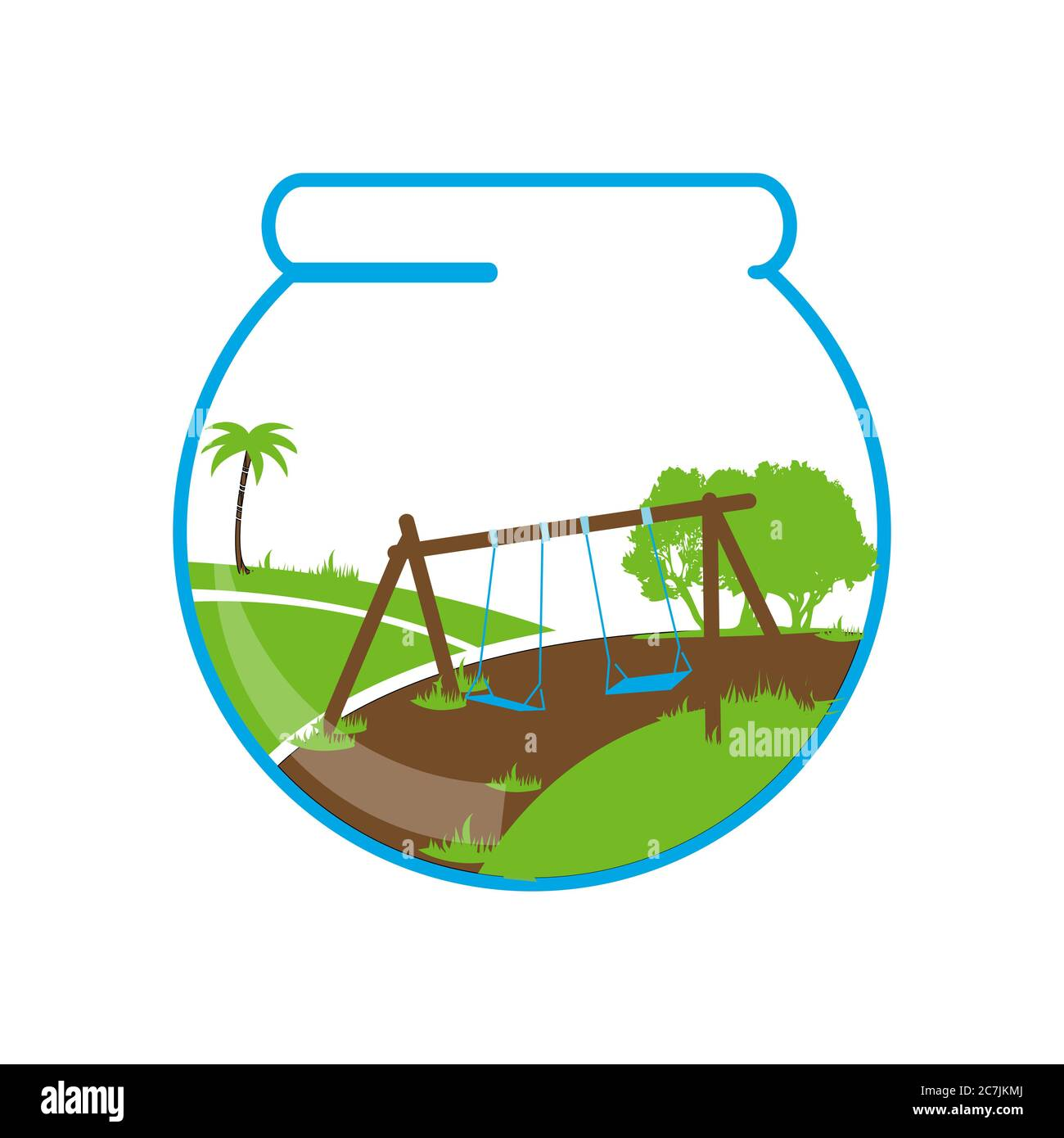 Aquascapes Aquarium Logo Design With Graphic Of Garden With Trees And Swings Stock Vector Image Art Alamy