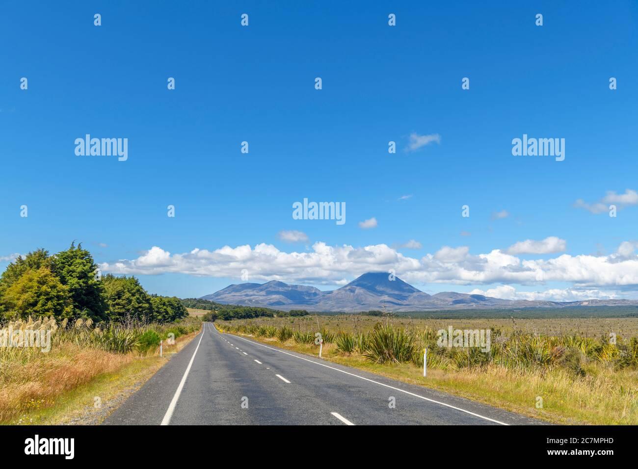 View towards Mount Ngauruhoe from the SH47, Tongariro National Park, New Zealand Stock Photo