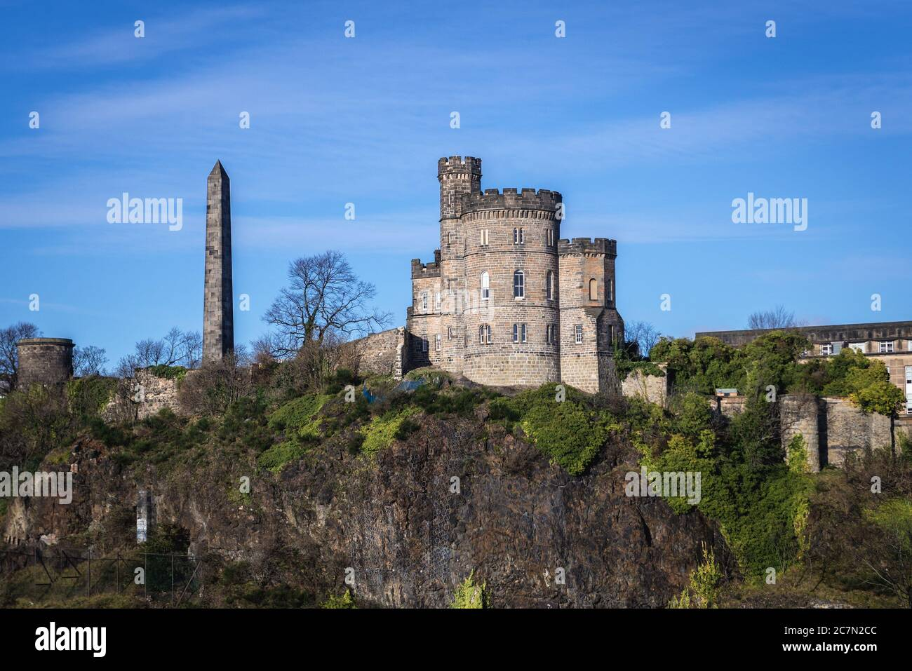 View with Political Martyrs Monument in Old Calton Burial Ground on Calton Hill in Edinburgh, the capital of Scotland, part of United Kingdom Stock Photo