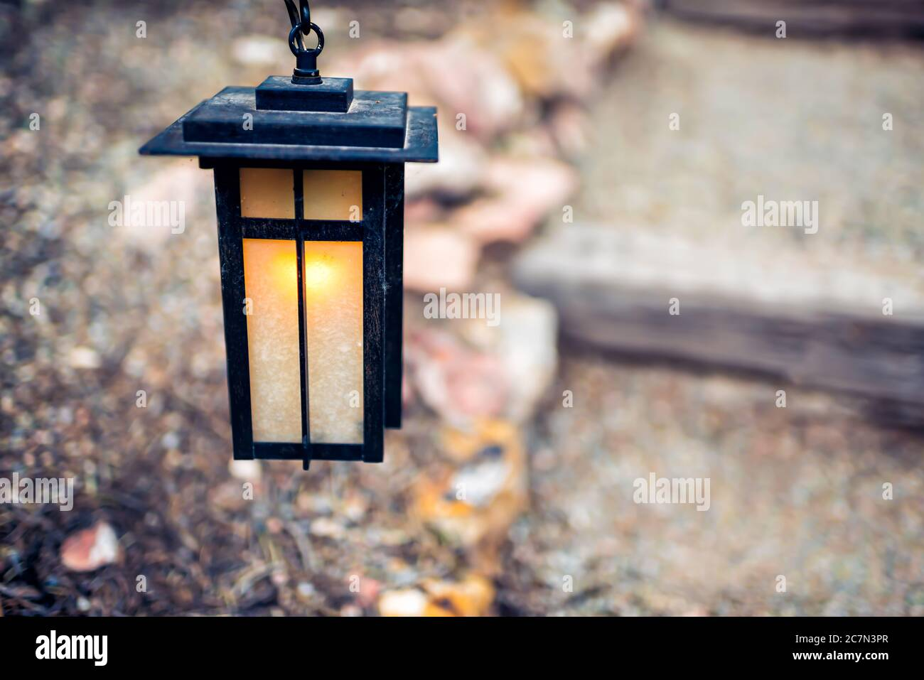 Japan Hanging Lantern Lamp In Japanese Garden With Stone Steps Stairs Path In Blurry Bokeh Background And Illuminated Light In Evening Night Stock Photo Alamy