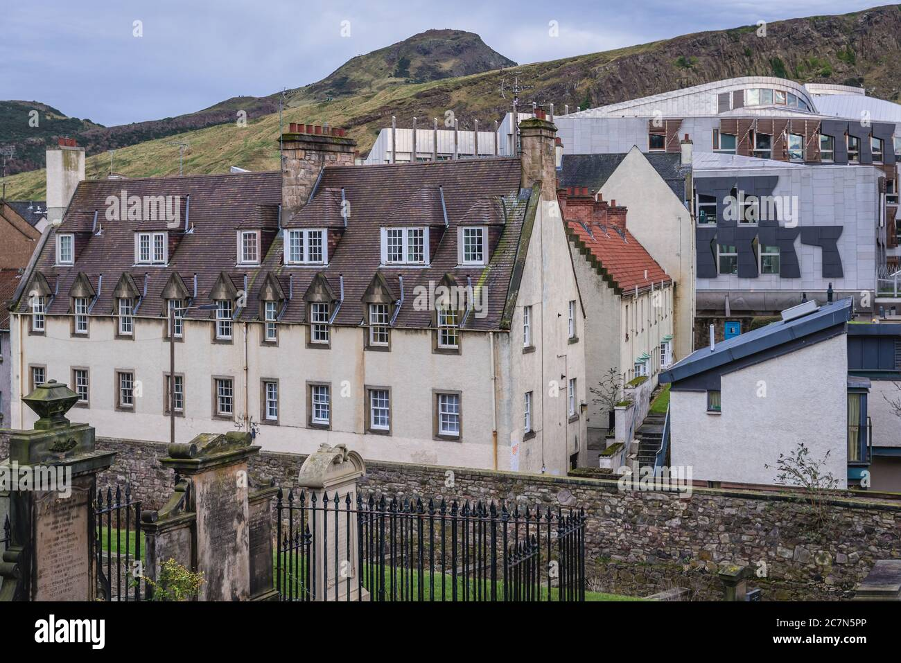 View from New Calton Burial Ground on the southeast slopes of Calton Hill in Edinburgh, the capital of Scotland, part of United Kingdom Stock Photo