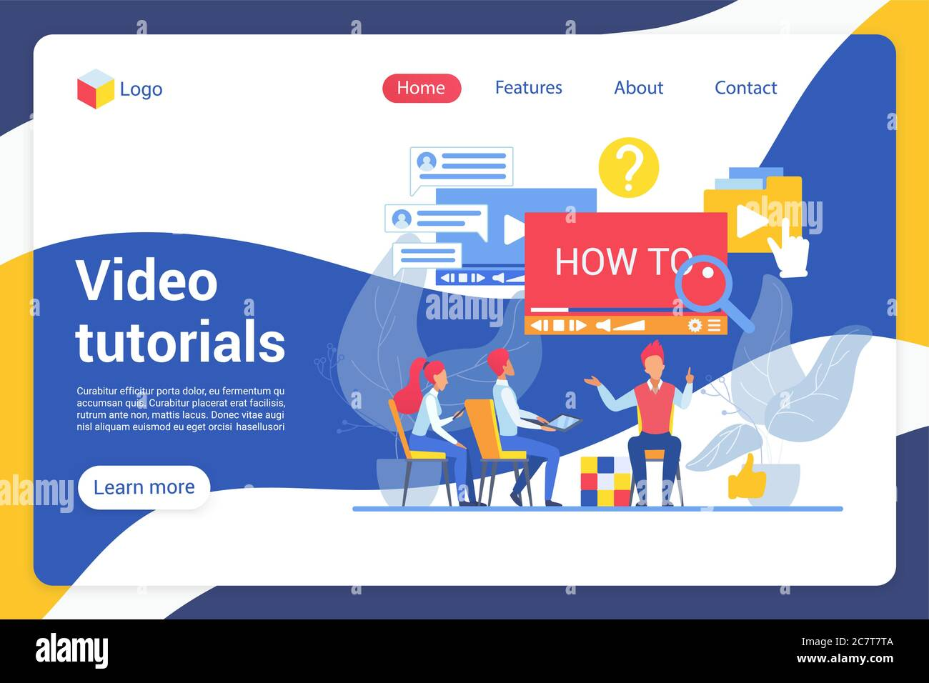 Video Tutorials Flat Landing Page Vector Template Online Students Learners Internet Users Faceless Characters Online Course Guide Video Master Class Web Banner Homepage Design Layout Stock Vector Image Art Alamy