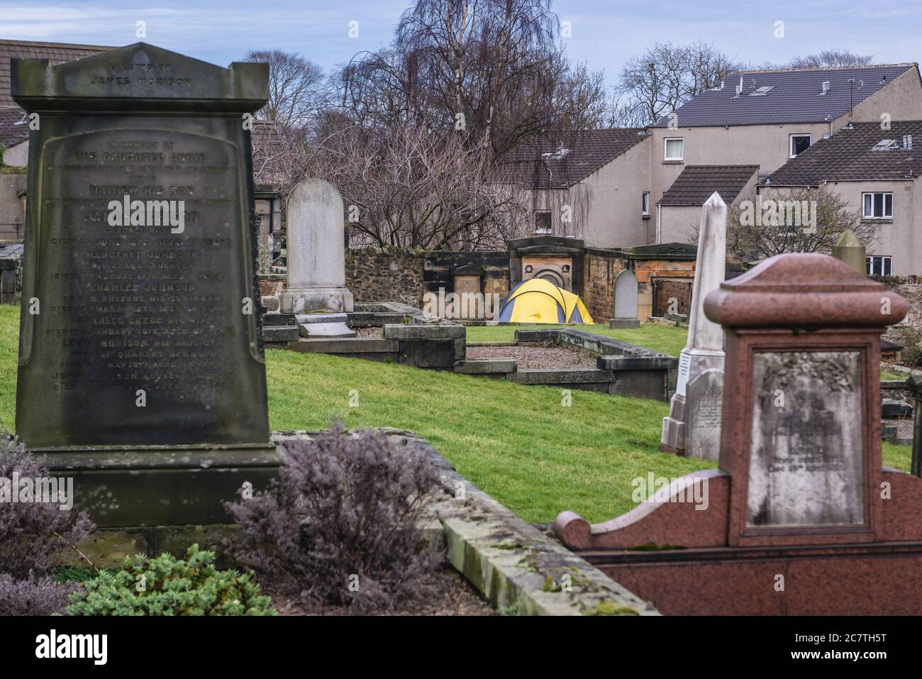 Tent on New Calton Burial Ground on the southeast slopes of Calton Hill in Edinburgh, the capital of Scotland, part of United Kingdom Stock Photo