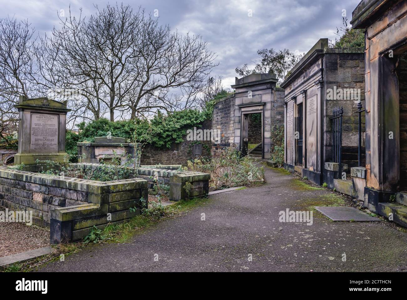 Old graves on New Calton Burial Ground on the southeast slopes of Calton Hill in Edinburgh, the capital of Scotland, part of United Kingdom Stock Photo