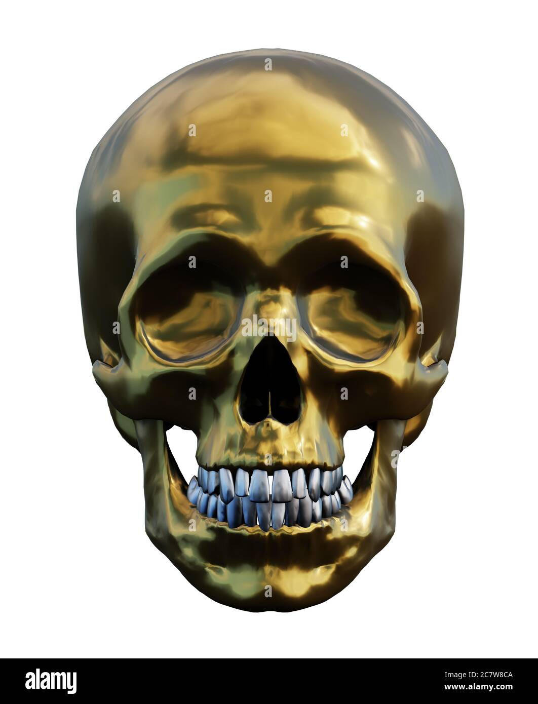 human golden skull isolated on white, front view, 3d render Stock Photo