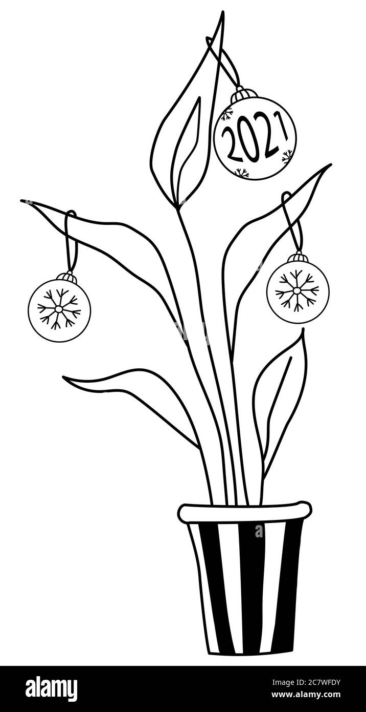 Tree Line Drawing High Resolution Stock Photography And Images Alamy This cartoon tree is getting better and better! https www alamy com christmas tree balls and number 2021 and snowflakes are dressed on a indoor flowerpot new year new years indoor flowerpotdrawing a black line image366281271 html