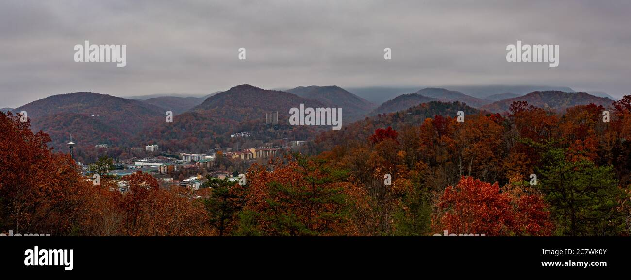 Skyline of Gatlinburg, Tennessee, from Great Smoky Mountains National Park in Tennessee-North Carolina Stock Photo