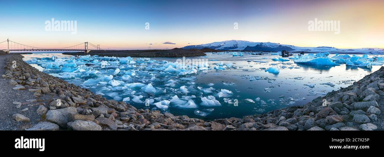 Beautifull landscape with floating icebergs in Jokulsarlon glacier lagoon at sunset. Location: Jokulsarlon glacial lagoon, Vatnajokull National Park, Stock Photo