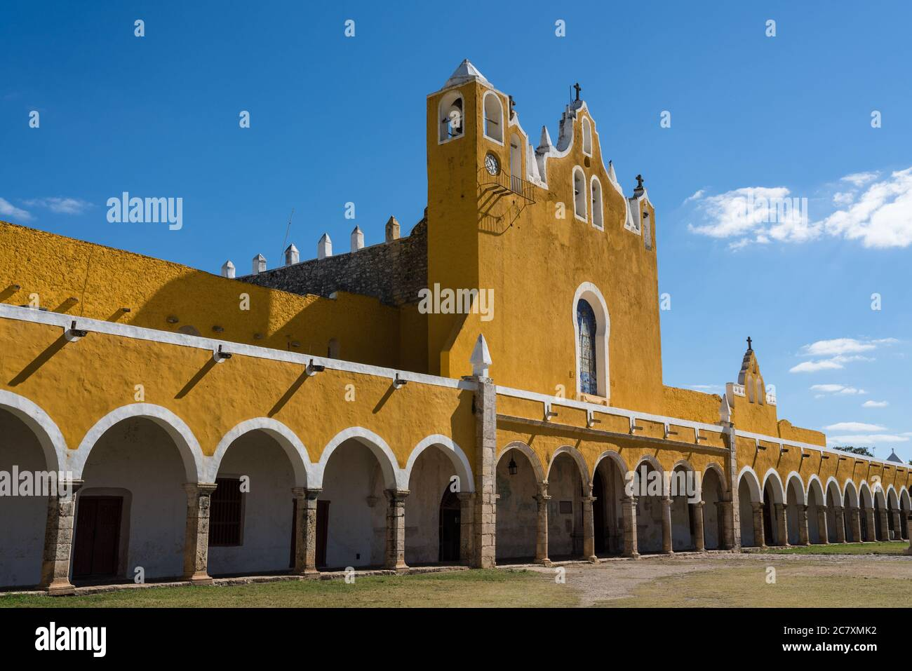 The Convent of San Antonio or Saint Anthony of Padua was founded in 1549 completed by 1562.  It was built on the foundation of a large Mayan pyramid. Stock Photo