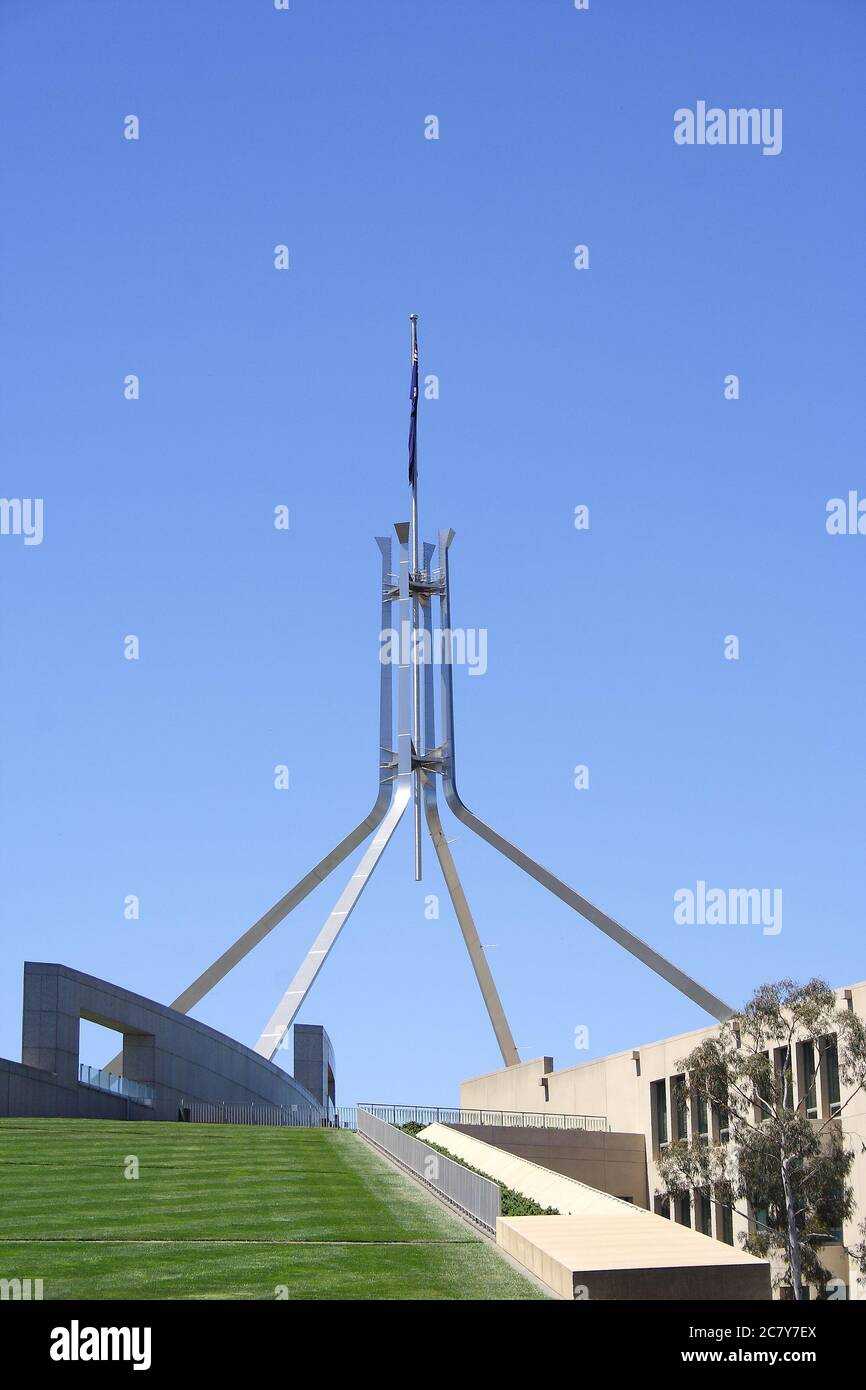CANBERRA, AUSTRALIA - NOVEMBER 8, 2009: Parliament House is the meeting place of the Parliament of Australia located in Canberra.  It was opened on 9 Stock Photo