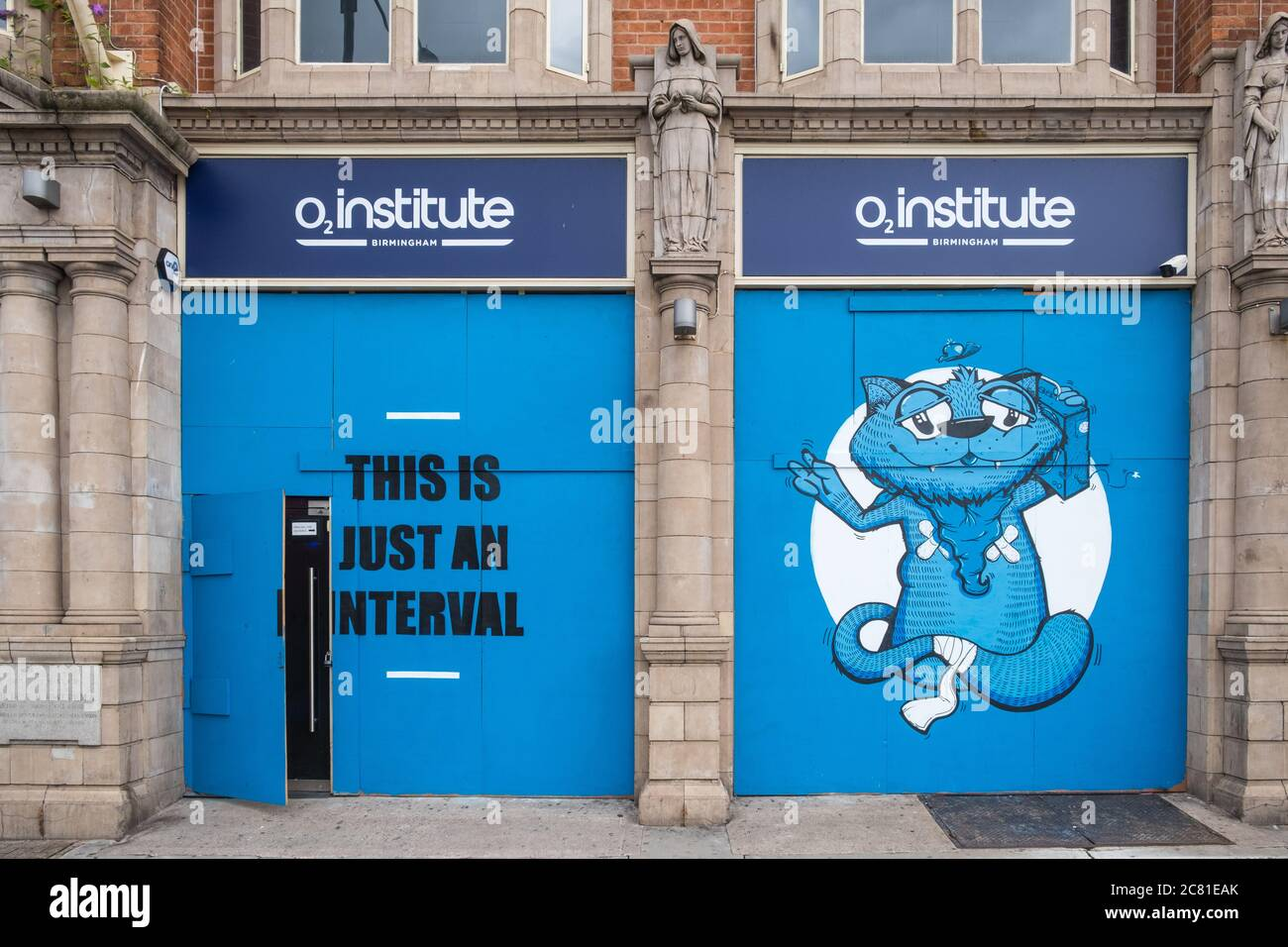 Boarded up entrance to O2 Institute in Digbeth, Birmingham which is closed due to Covid 19 Stock Photo