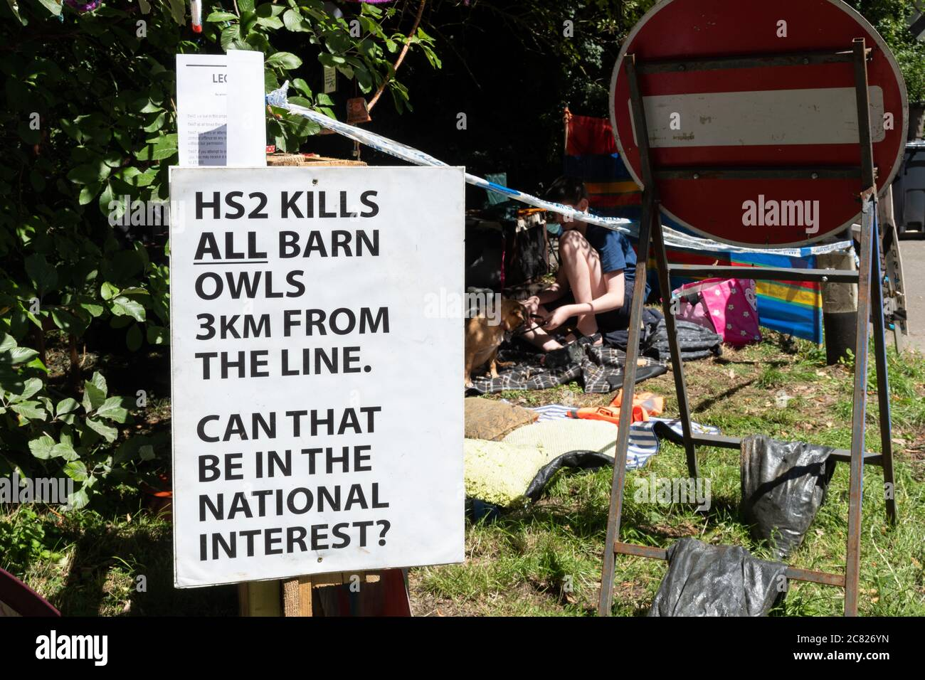 Anti HS2 protest in Great Missenden, Buckinghamshire, England, UK Stock Photo