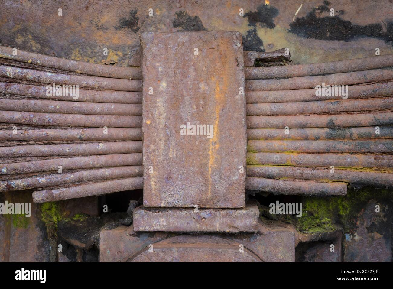 leaf spring unit of a historic vehicle Stock Photo