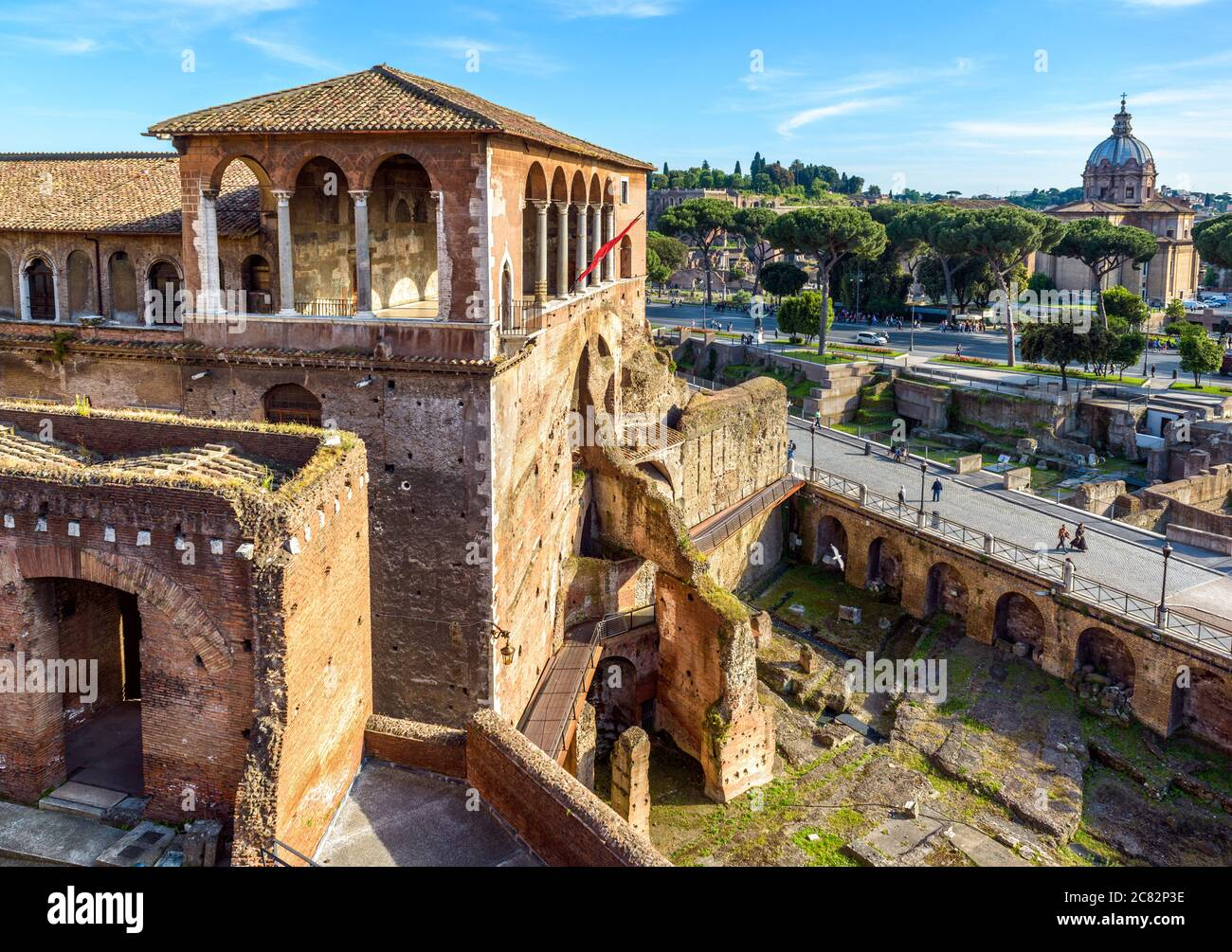House of Knights of Rhodes on Forum of Augustus, Rome, Italy. It is old tourist attraction of Rome. Medieval building and ancient ruins in Roma city c Stock Photo