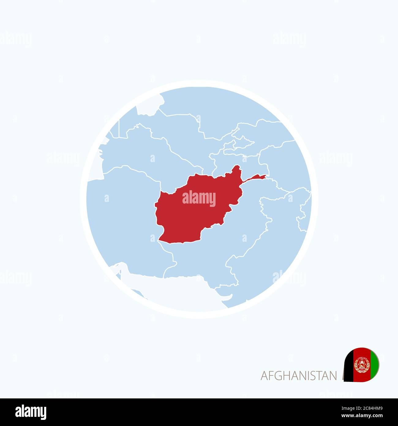Picture of: Map Icon Of Afghanistan Blue Map Of South Asia With Highlighted Afghanistan In Red Color Vector Illustration Stock Vector Image Art Alamy