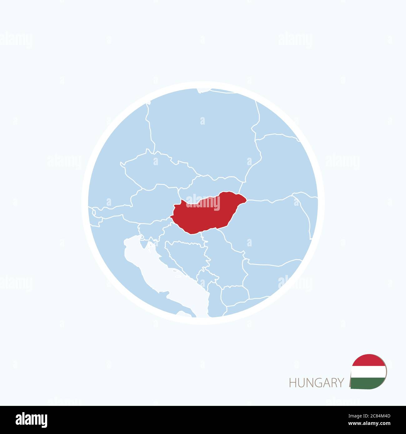 Picture of: Map Icon Of Hungary Blue Map Of Europe With Highlighted Hungary In Red Color Vector Illustration Stock Vector Image Art Alamy