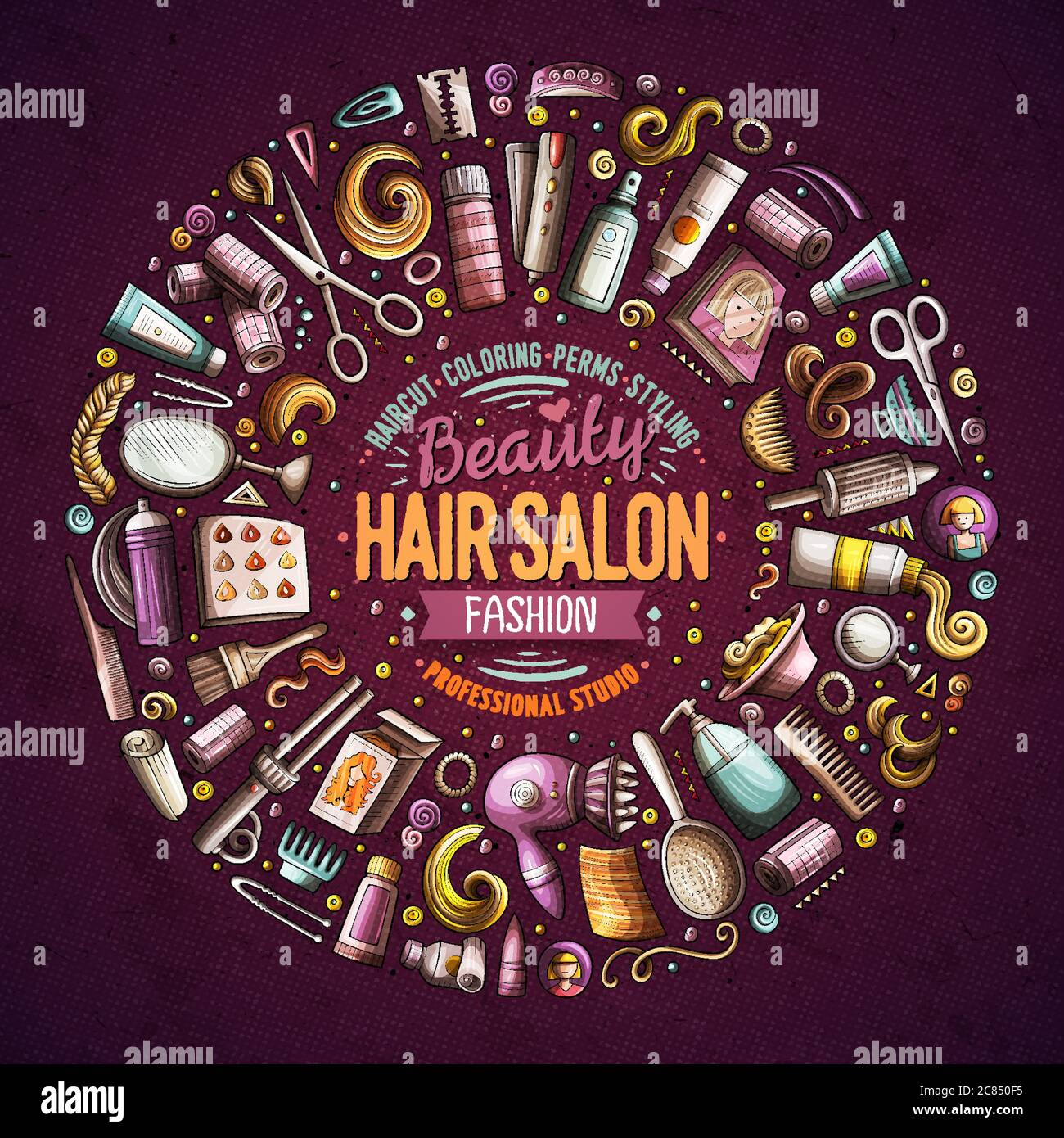Vector Set Of Hair Salon Cartoon Doodle Objects Stock Vector Image Art Alamy