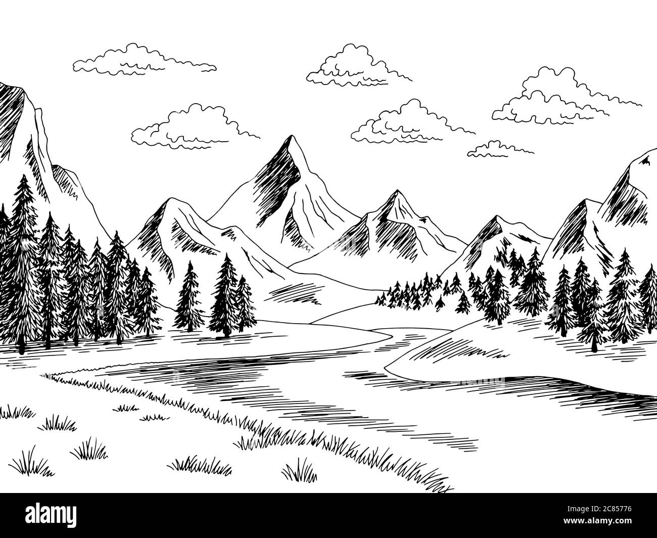 mountain river graphic black white landscape sketch illustration vector stock vector image art alamy https www alamy com mountain river graphic black white landscape sketch illustration vector image366450426 html