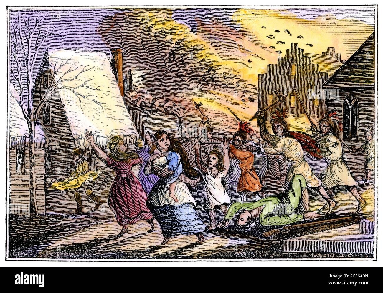 Destruction of Schenectady NY by French and Algonquin forces, 1690. Hand-colored woodcut Stock Photo