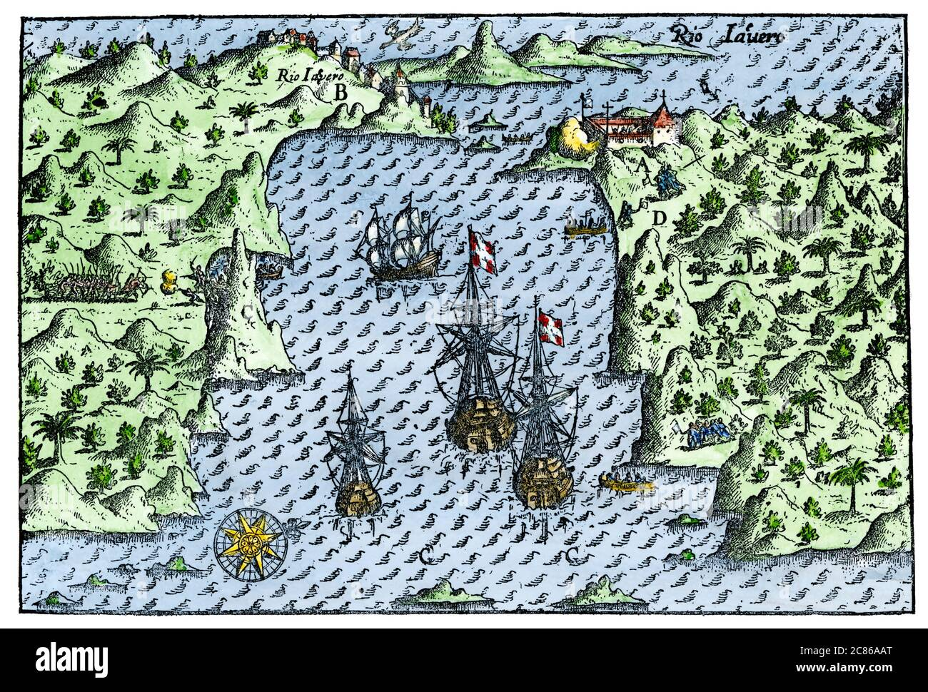 Rio de Janeiro in 1599. Hand-colored woodcut from Olivier du Noort, 1602 Stock Photo