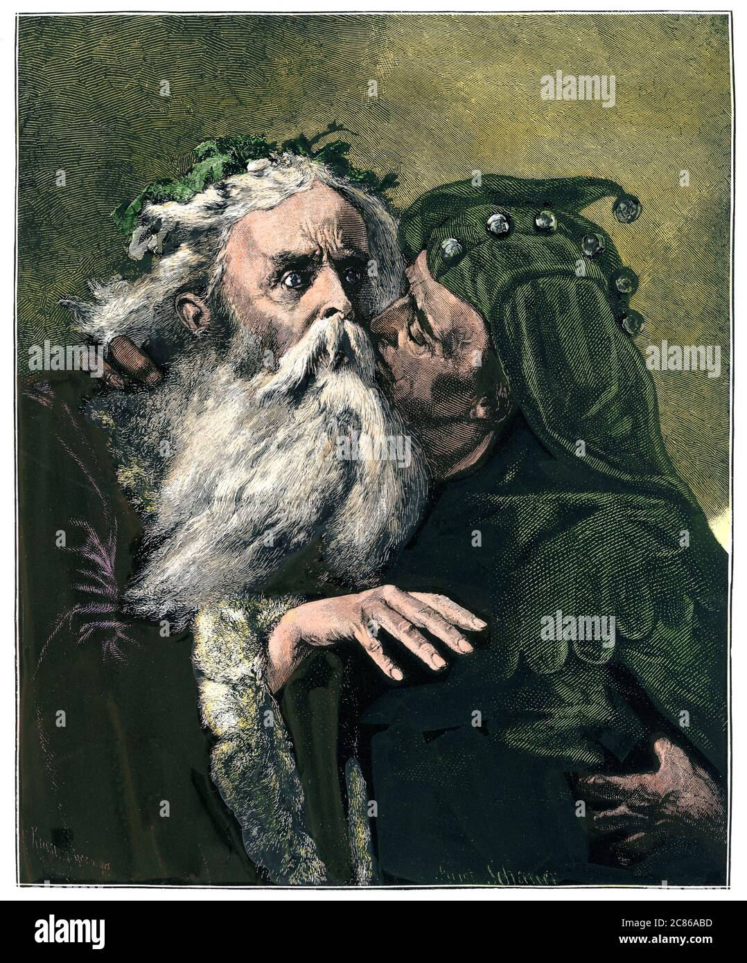 Shakespearean scene of King Lear and the Fool.Hand-colored woodcut Stock Photo