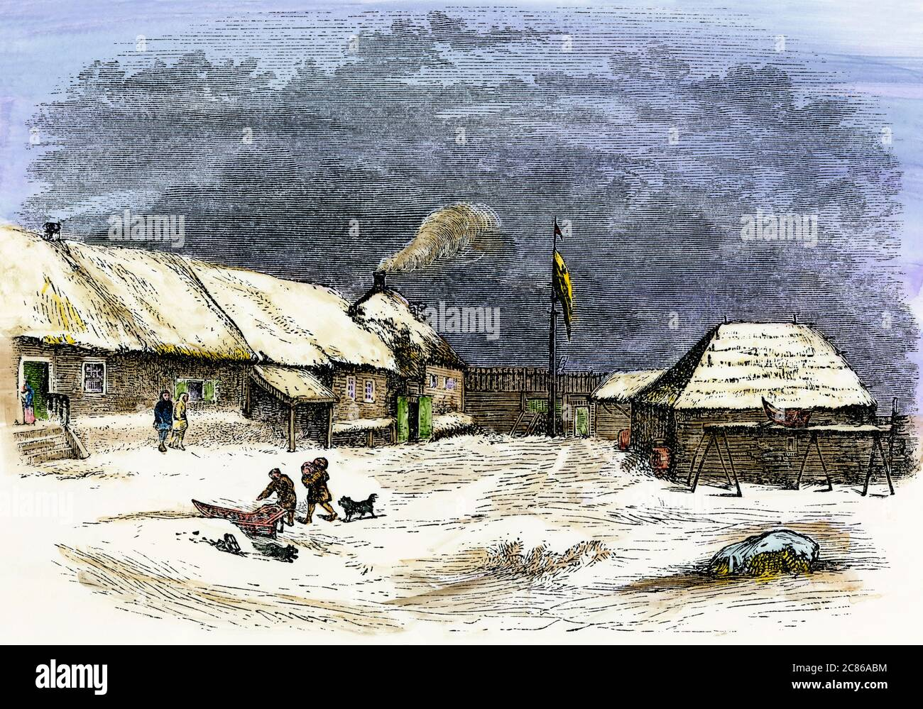 Russian outpost, Redoubt St. Michael's on Norton Sound, Alaska, mid-1800s. Hand-colored woodcut Stock Photo