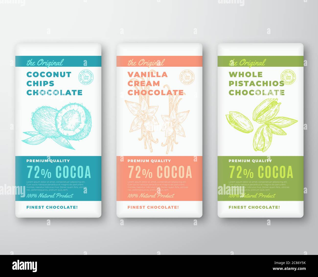 The Original Finest Cocoa Chocolate Bar Abstract Vector Packaging