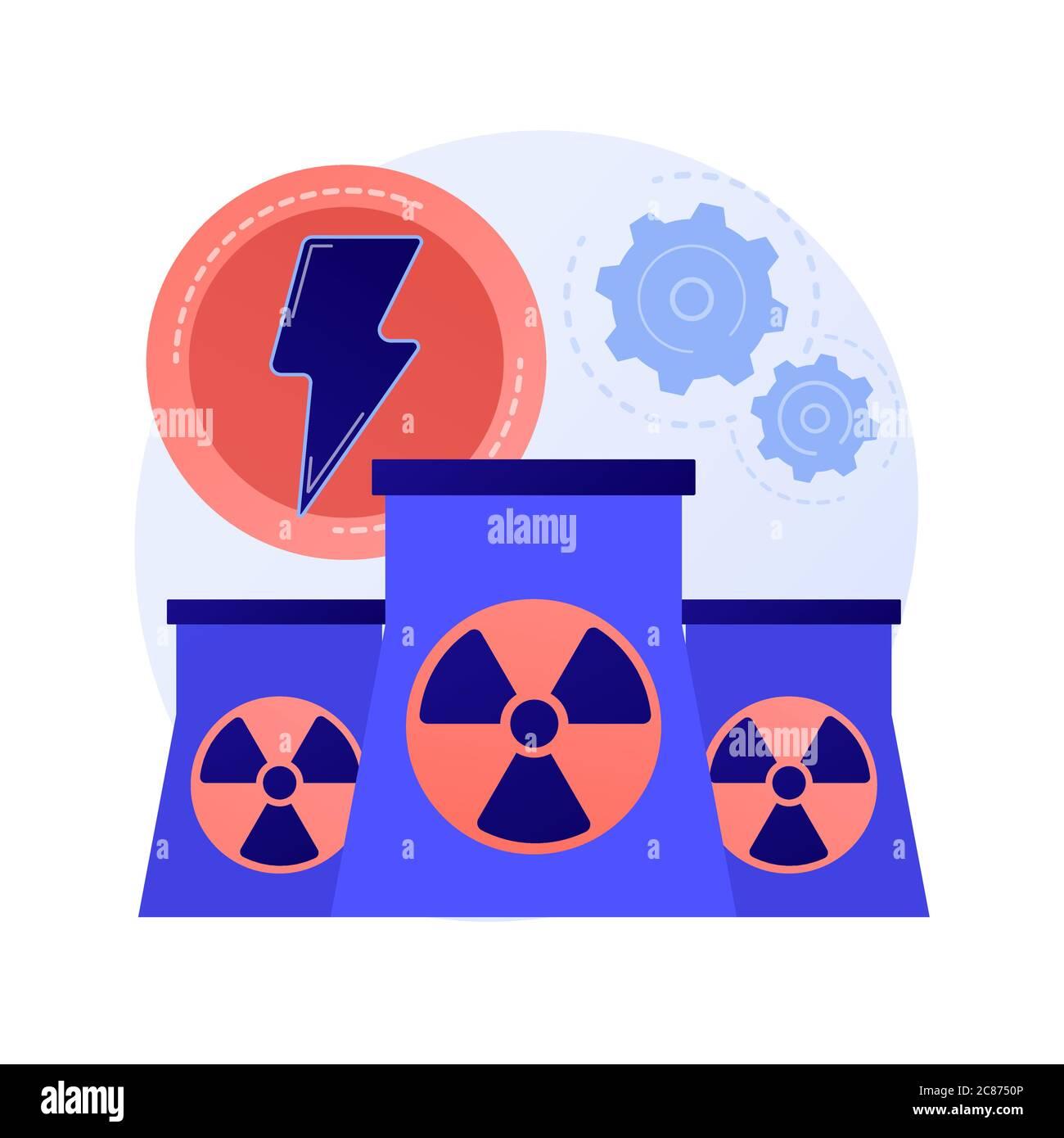 Nuclear power plant, atomic reactors, energy production vector concept metaphor. Stock Vector