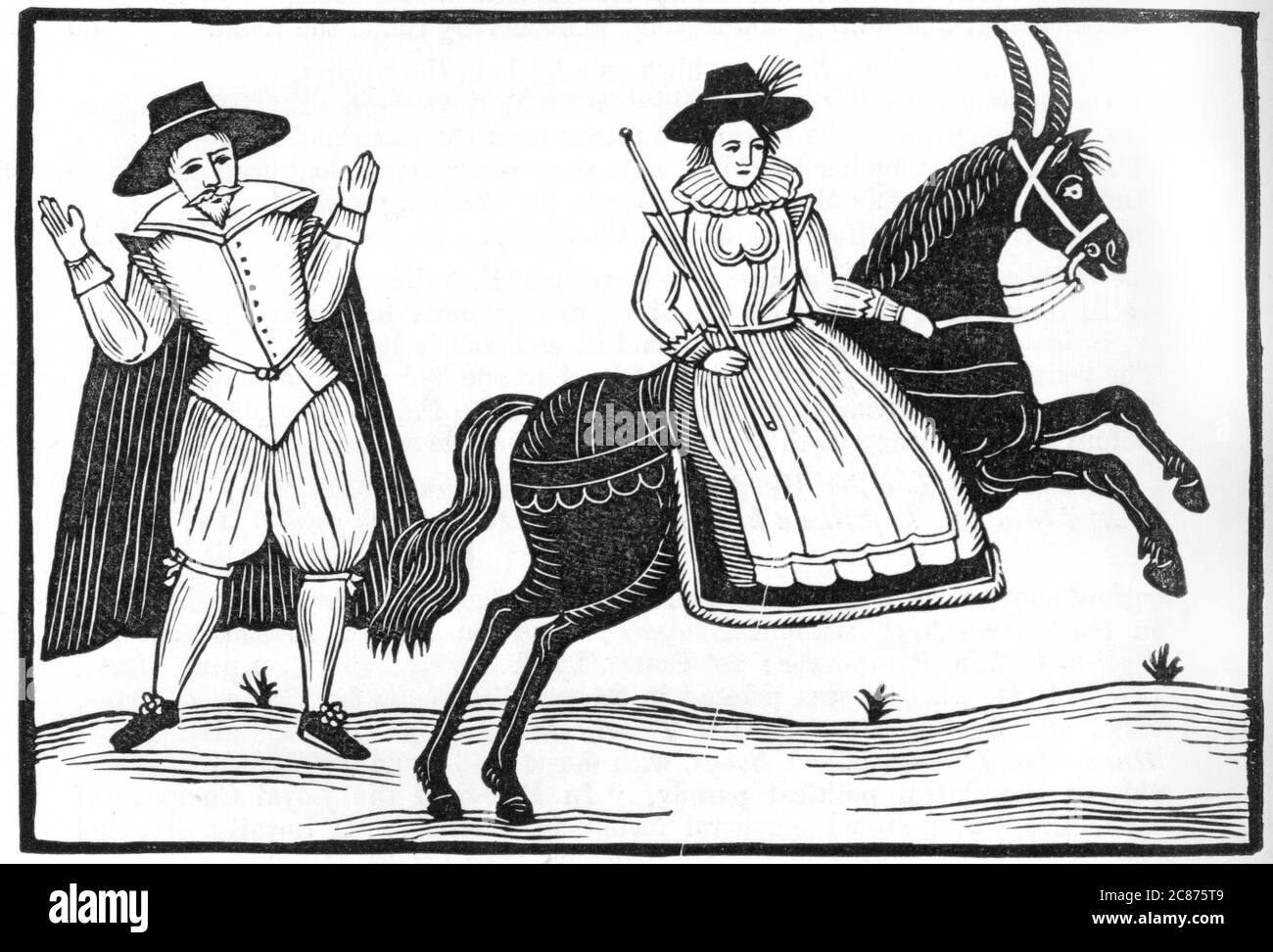 A lady riding sidesaddle causes a gentleman to raise his hands - but whether at her riding skills, her beauty or her recklessness, who knows ?      Date: circa 1660 Stock Photo
