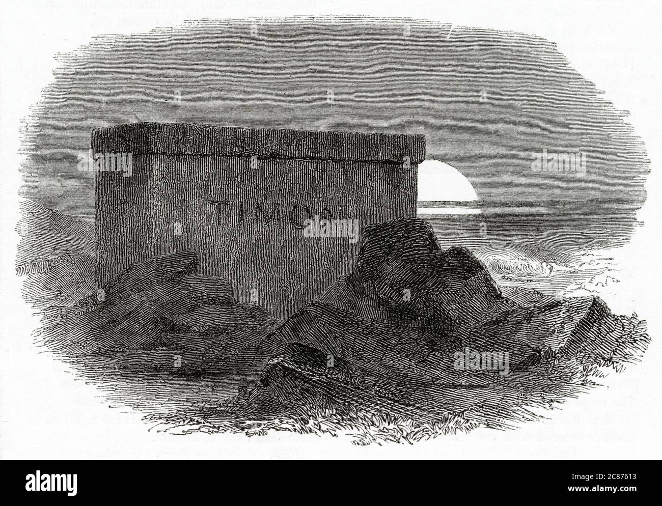 Illustration by Kenny Meadows to Timon of Athens, by William Shakespeare. Endpiece design, showing Timon's tomb.       Date: 1840 Stock Photo
