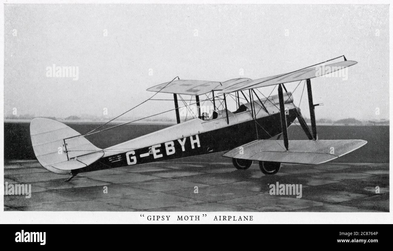 Gipsy Moth aeroplane G-EBYH.      Date: circa 1930s Stock Photo