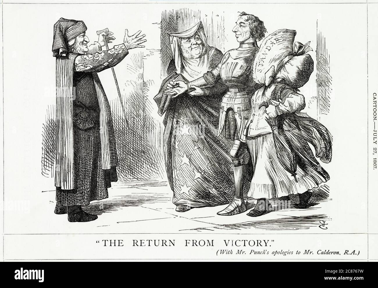 Cartoon, The Return From Victory -- a satirical comment on Disraeli's success in getting his Reform Bill passed after a third reading in the House of Commons on 15 July 1867. Depicting him as a returning soldier in armour, supported by John Bright and the Standard newspaper, with Lord Derby holding out his hands to greet him. The Reform Act brought household suffrage to boroughs, reduced the county franchise to 12, gave votes to lodgers, and broadened the scope of the planned redistribution of seats. Before the Act, only one million of the seven million adult men in England and Wales could vot Stock Photo