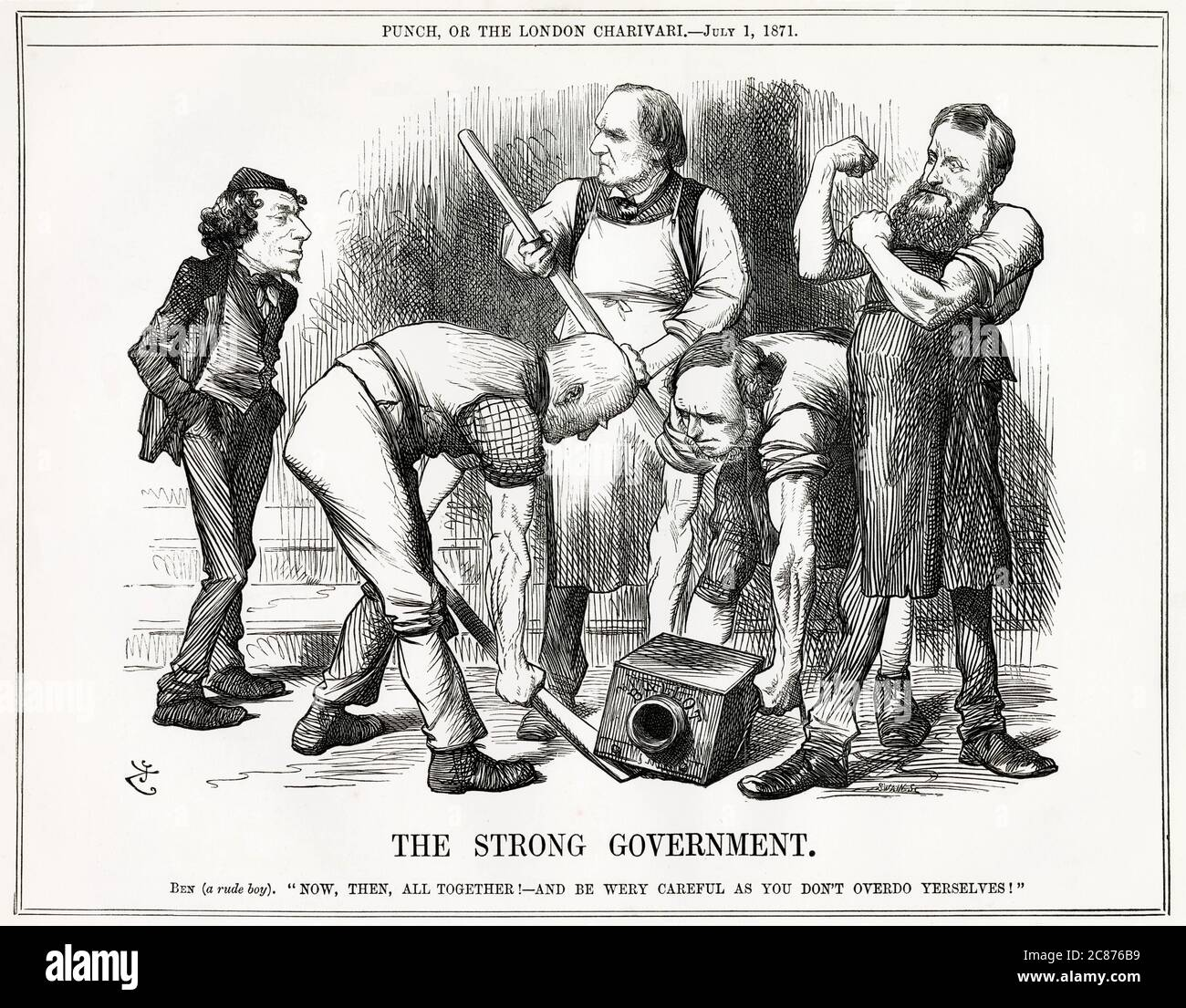 Cartoon, The Strong Government -- a satirical comment on Gladstone's government introducing the Ballot Bill (legislation for the secret ballot in elections) towards the end of a busy parliamentary session. Rude boy Disraeli tells Gladstone and his three colleagues to be careful not to overdo things.      Date: 1871 Stock Photo