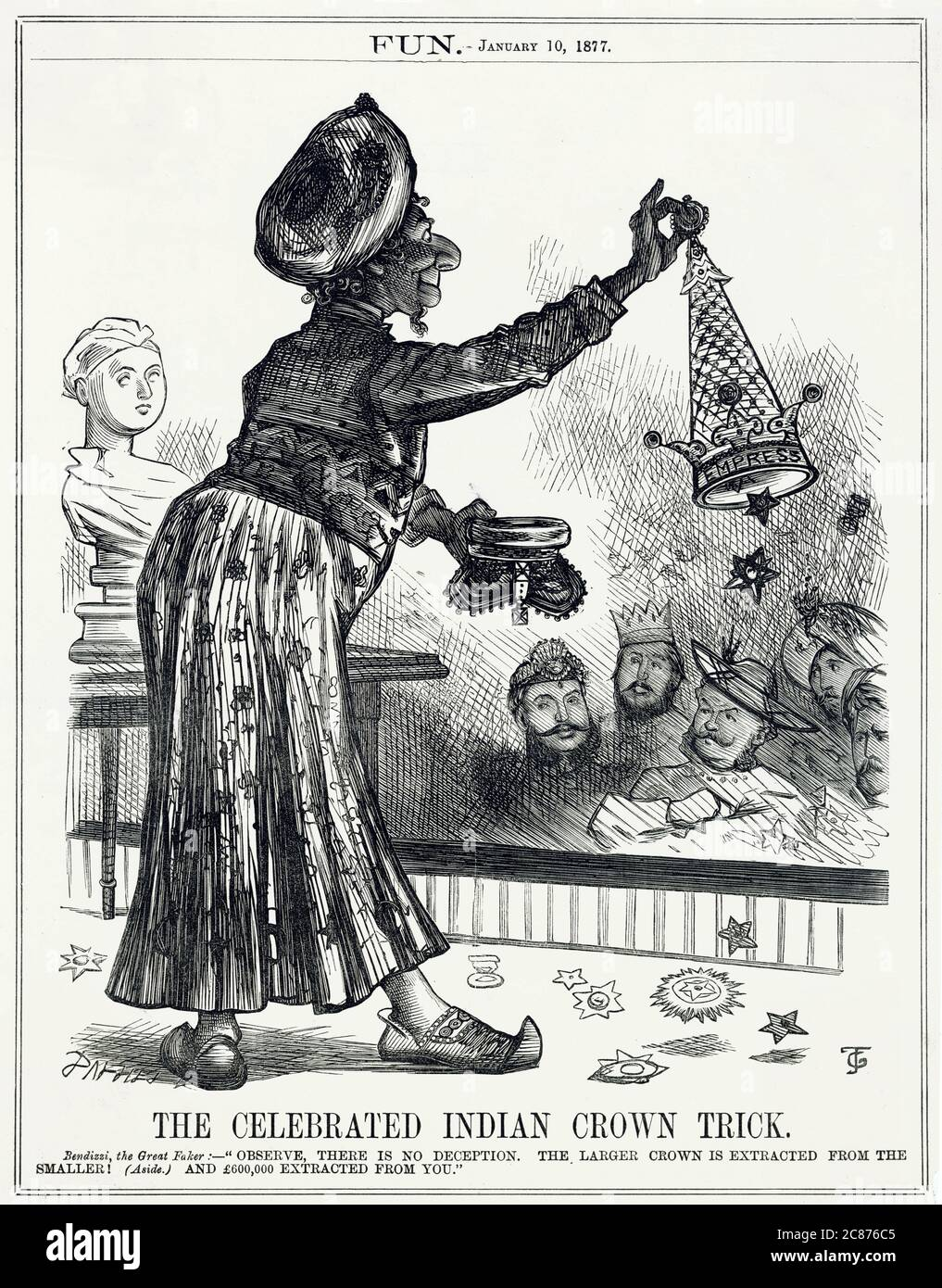 Cartoon, The Celebrated Indian Crown Trick -- a satirical depiction of Benjamin Disraeli, Conservative Prime Minister, as Bendizzi the Great Faker, performing as a magician to various heads of state. He has miraculously extracted a larger crown, marked Empress, from the smaller British crown -- a reference to his awarding of the title of Empress of India to Queen Victoria (seen on the left as a portrait bust).      Date: 1877 Stock Photo