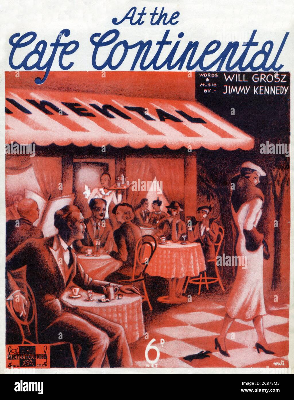 Music sheet cover for 'At the Cafe Continental' by Will Grosz and Jimmy Kennedy. Illustration features a continental cafe with various patrons seated at outdoor tables. A waiter emerges wtih drinks and an elegant woman catches they eye of an admirer.     Date: 1936 Stock Photo