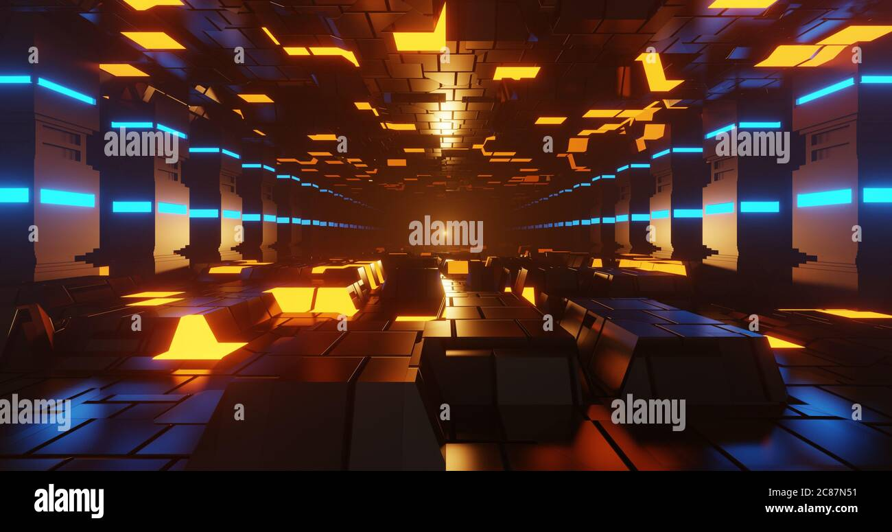 3d render sci-fi style corridor with glowing floor, ceiling and pillar. Stock Photo