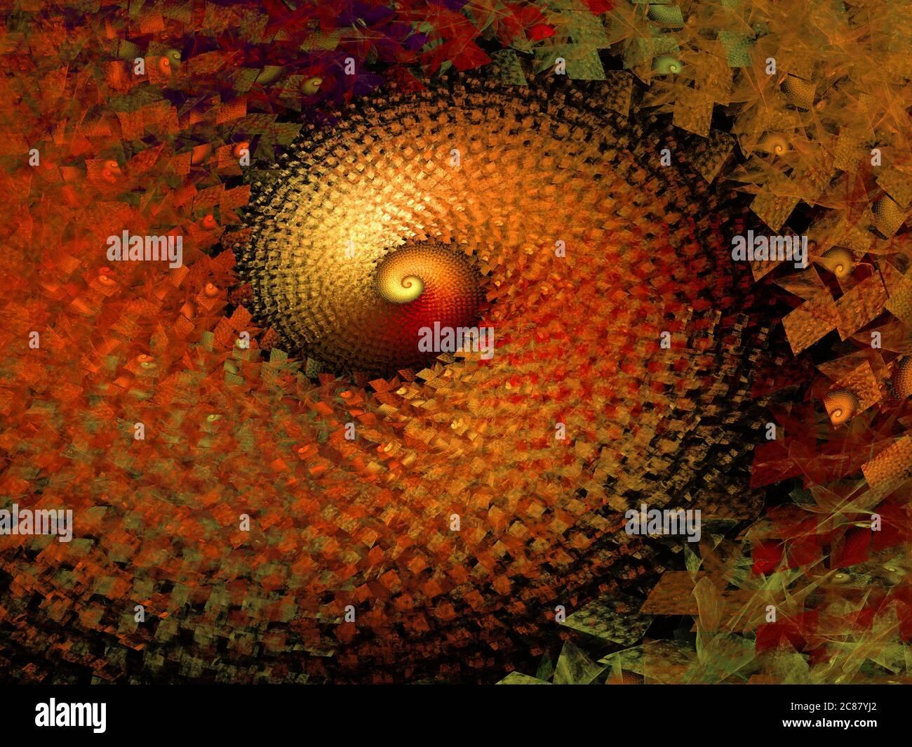 Spiral Art - Flame Fractal Stock Photo