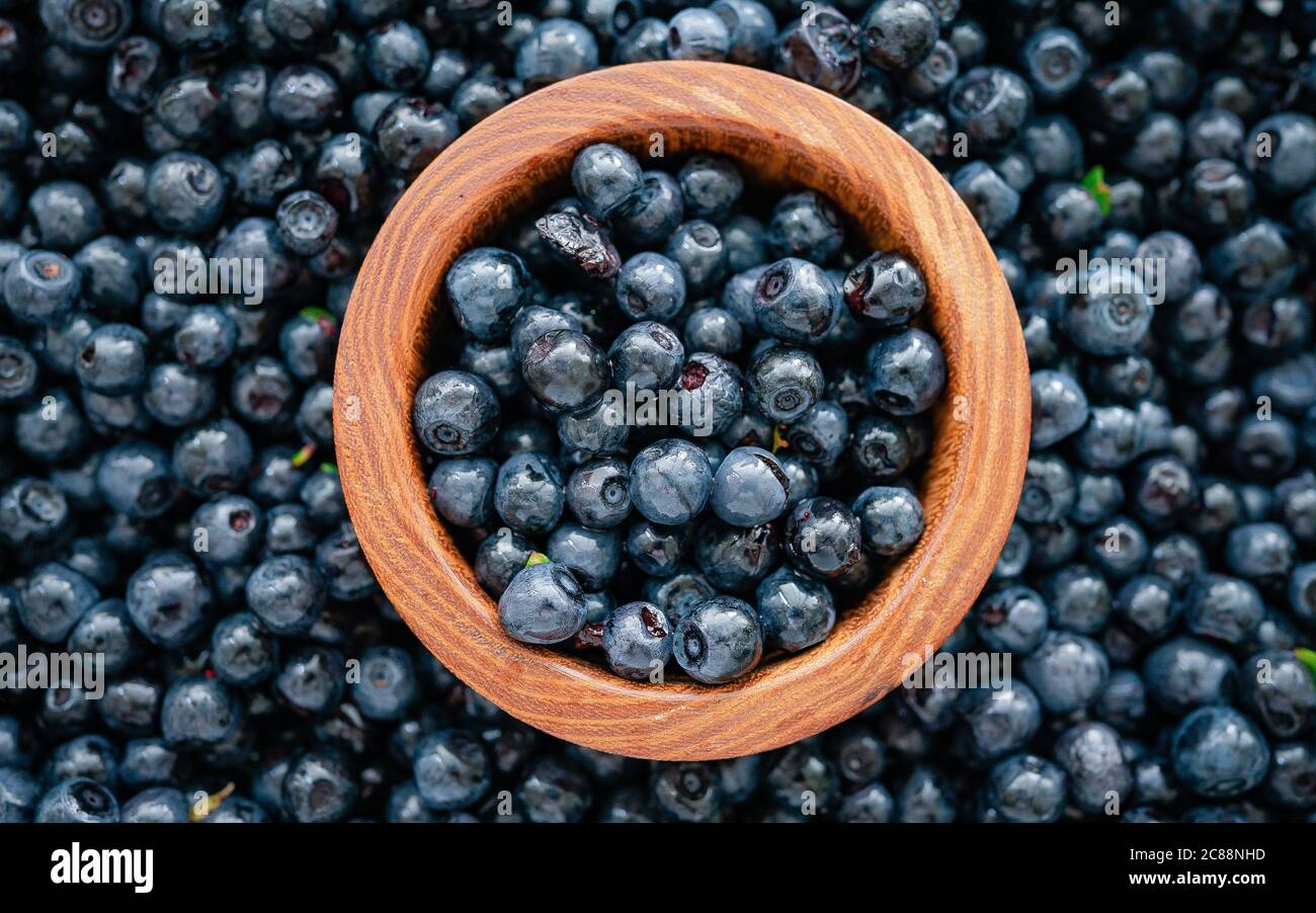 Wooden Bowl Full Of Fresh Blueberries With Herbs Top View Ripe