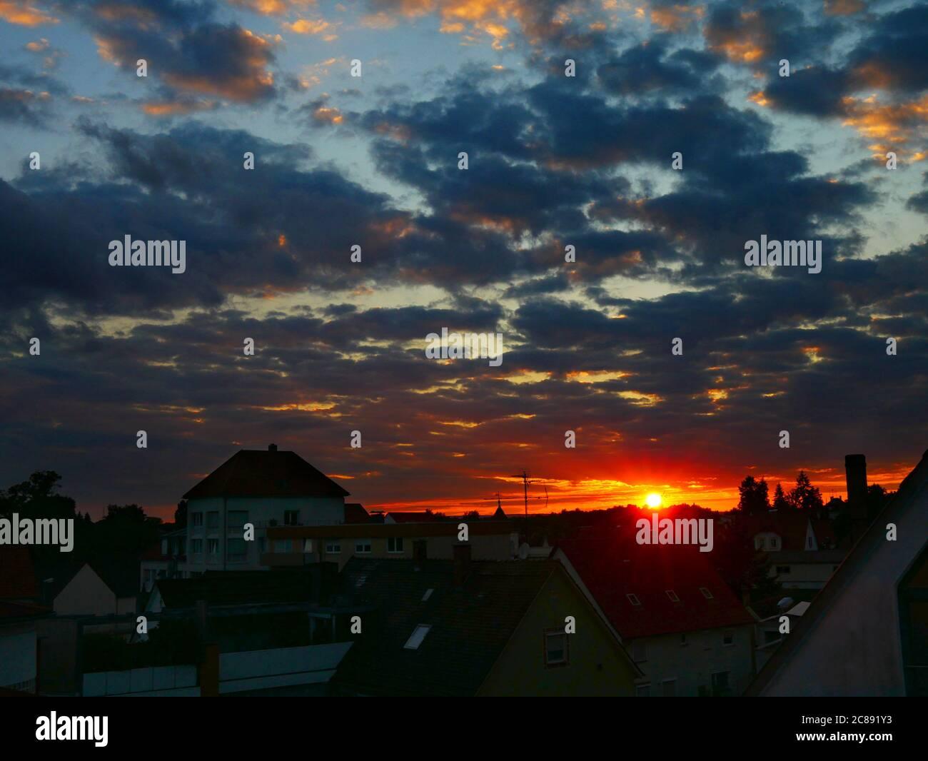 Laupheim, Germany: Sunset over the city Stock Photo