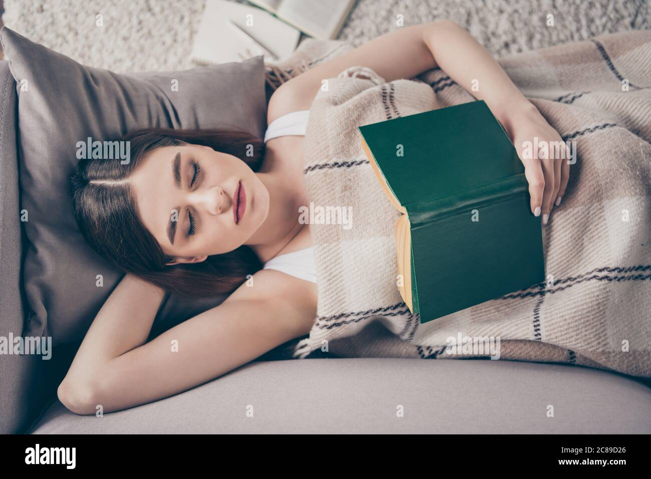 Late evening reading book concept. High angle view photo of peaceful girl hold poetry textbook sleep cover close checkered plaid blanket lie divan in Stock Photo