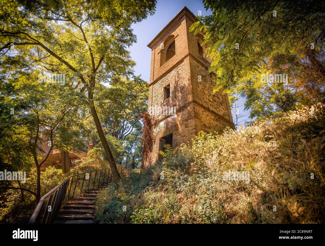 tower in forest in italy photography background - Monteveglio - Bologna Stock Photo