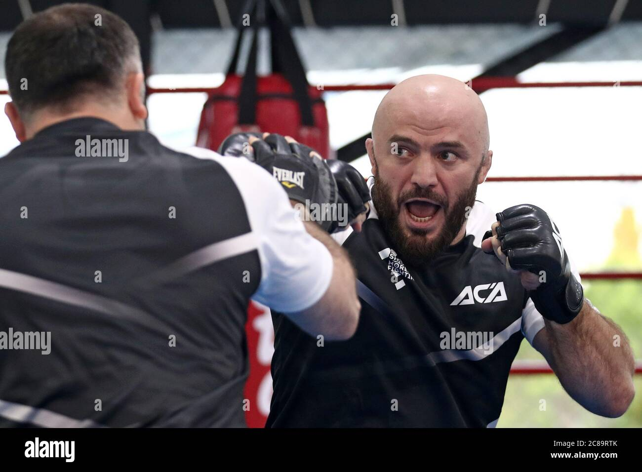 Sochi, Russia. 22nd July, 2020. MMA fighter Magomed Ismailov (R ...