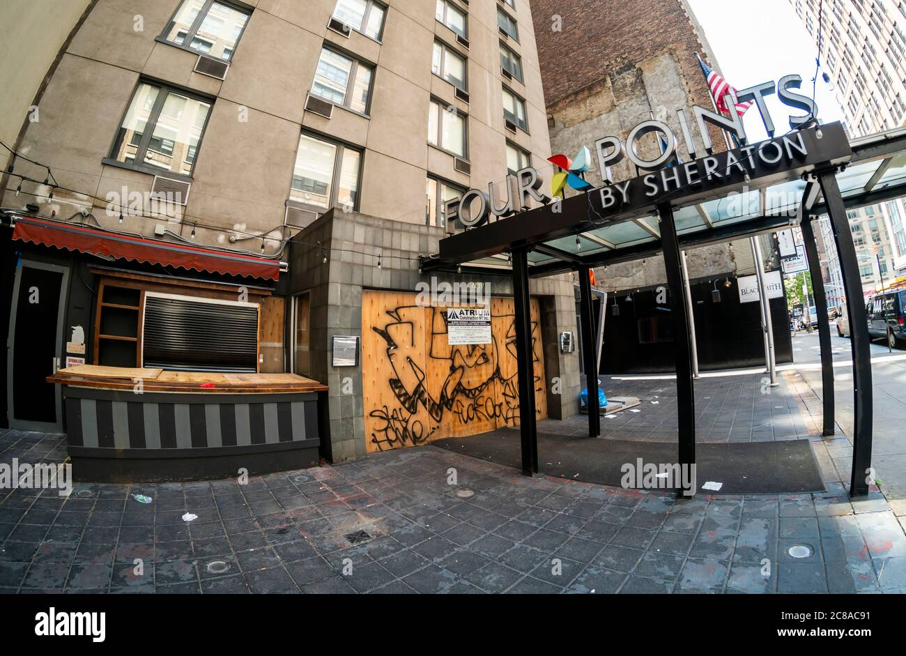 The closed Four Points by Sheraton Hotel in the Chelsea neighborhood of New York on Tuesday, July 21, 2020. New York State is expected to lose over 200,000 jobs in the hospitality industry  due to the covid-19 pandemic shutdown. (© Richard B. Levine) Stock Photo