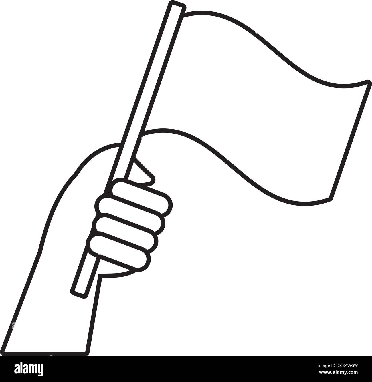 hand human with flag protest line style icon vector illustration design Stock Vector