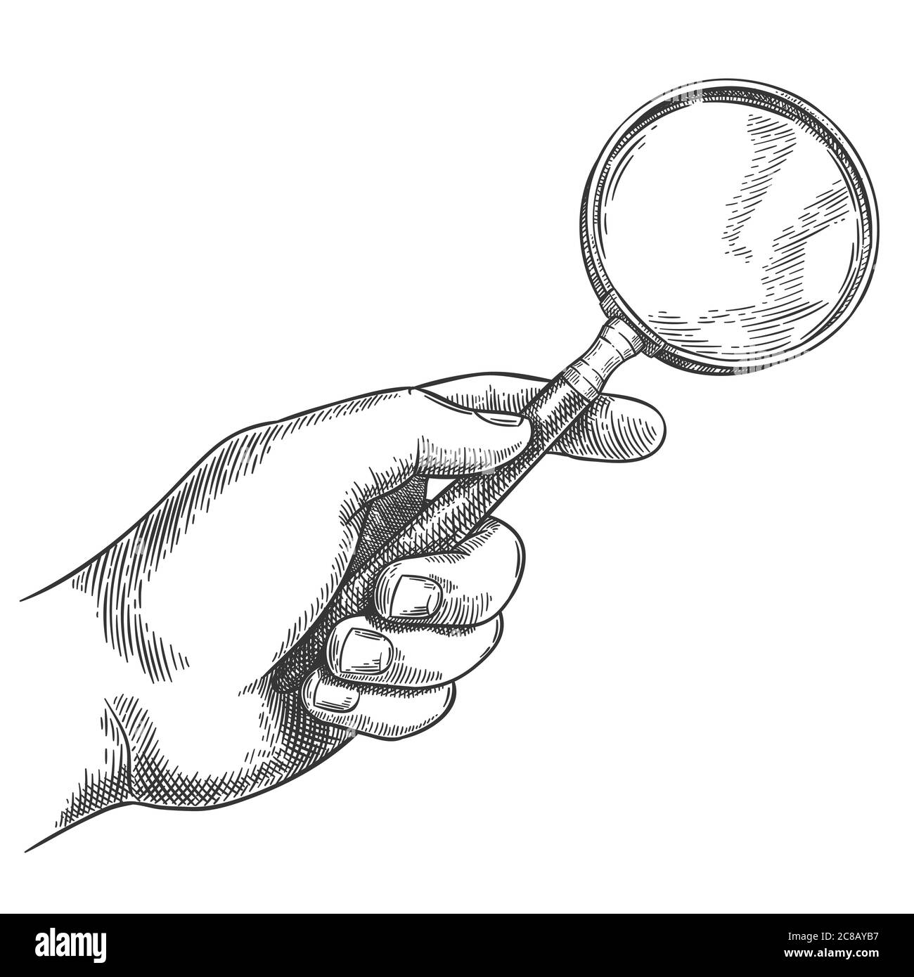 Engraved hand holding magnifying glass. Retro hand drawn detective magnifier, search sketch and antique loupe vector illustration. Male hand holding v Stock Vector
