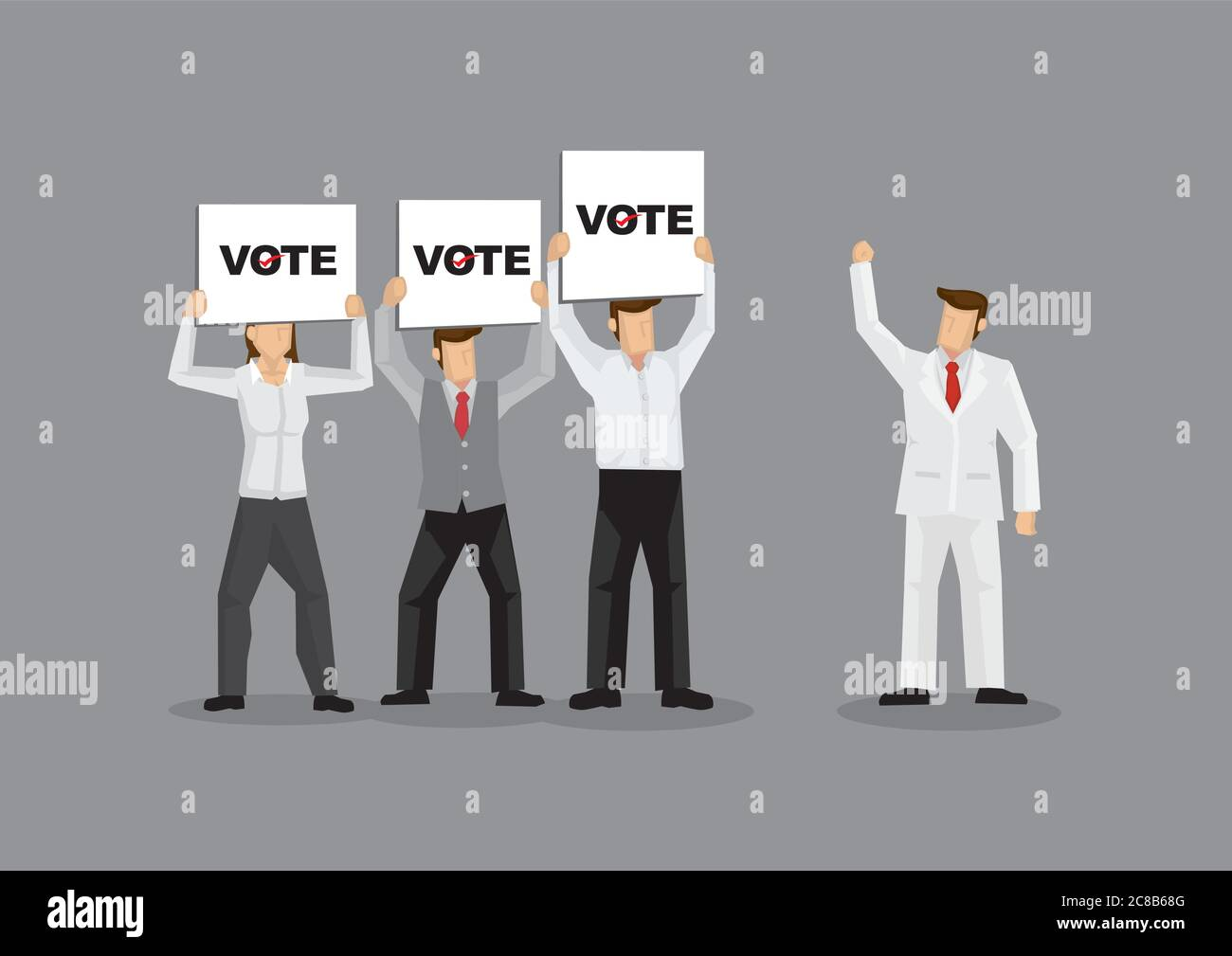 Vector illustration of rich man in white suit garnering support from fans and voters holding signs. Vector illustration on voters support for candidat Stock Vector
