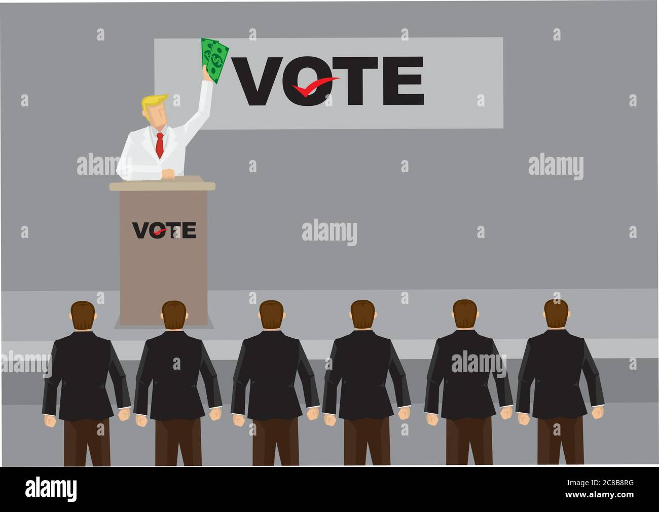 Rich business man waving money and giving speech on stage with banner on background with title VOTE. Cartoon vector illustration on voting isolated on Stock Vector