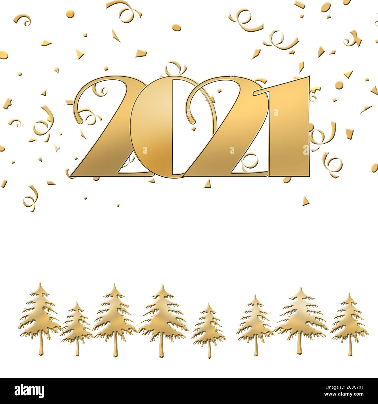 2021 Christmas White Background 2021 Happy New Year Merry Christmas Gold Text On White Background With Gold Christmas Trees And